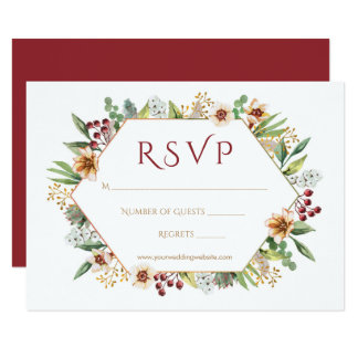 Autumn Wildflower Watercolor Wedding Red Card
