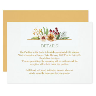 Autumn Wildflowers Watercolor Wedding Gold Card