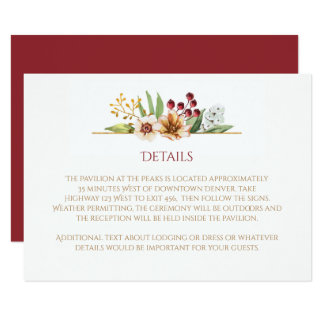 Autumn Wildflowers Watercolor Wedding Red Card