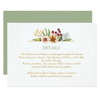 Autumn Wildflowers Watercolor Wedding Sage Card