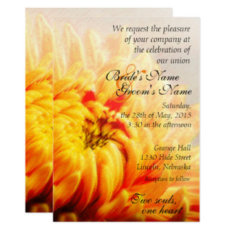 Autumn Yellow Chrysanthemum Wedding Invite