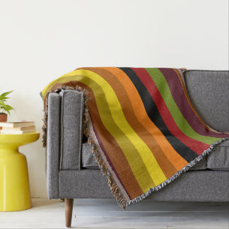 Autumnal Colors Striped Throw Blanket