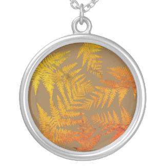 Autumnal ferns. silver plated necklace