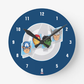 Avengers Character Faces Over Logo Round Clock