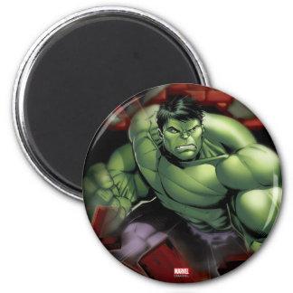 Avengers Hulk Smashing Through Bricks 6 Cm Round Magnet