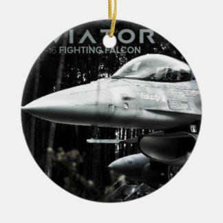 Aviator F-16 Fighting Falcon Round Ceramic Decoration