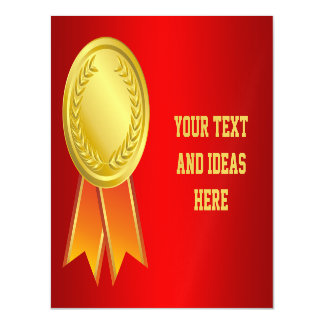 AWARD RIBBON gold I + your backgr. & text Magnetic Invitations