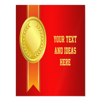 AWARD RIBBON gold II + your backgr. & text Magnetic Invitations