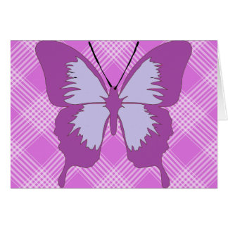 Awareness Butterfly on Purple Tartan Card