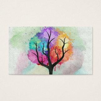 Awesome abstract pastel colours oil paint tree business card