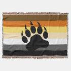 Awesome Bear Paw on Bear Pride Flag Throw Blanket