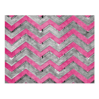 Awesome cool chevron zigzag pattern postcard