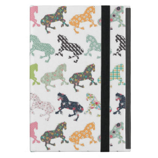 Awesome cool trendy horses pattern, vintage floral iPad mini case