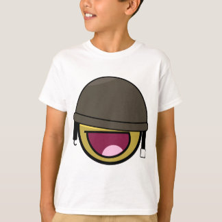 Awesome Face Smiley Soldier With Helmet Tee Shirts