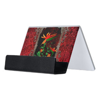 Awesome flowers with bird on a frame desk business card holder
