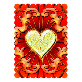 Awesome heart with flame 13 cm x 18 cm invitation card