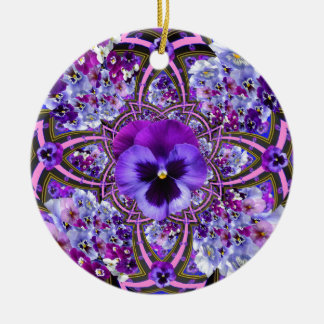 AWESOME LILAC PURPLE PANSIES GARDEN ART CHRISTMAS ORNAMENT