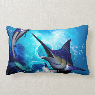 Awesome marlin with bubbles lumbar pillow