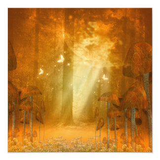 Awesome mystical forest with butterflies 13 cm x 13 cm square invitation card