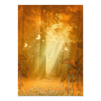 Awesome mystical forest with butterflies 13 cm x 18 cm invitation card