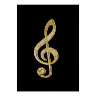 Awesome shining gold bar effects treble clef music poster