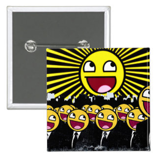 Awesome Smiley Faces Yellow Emoticon 15 Cm Square Badge