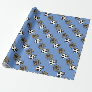 Awesome Weimaraner Dog Playing Soccer Wrapping Paper