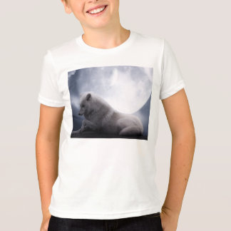 Awesome Wolf and Moon White Wolf T-Shirt