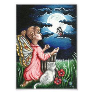 Ayla Moonlight Fairy and Cat Fantasy Photo Print