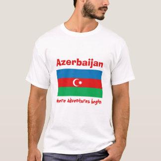 Azerbaijan Flag + Map + Text T-Shirt