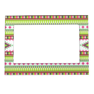 Aztec Andes Tribal Mountains Diamonds Zigzags Magnetic Picture Frame