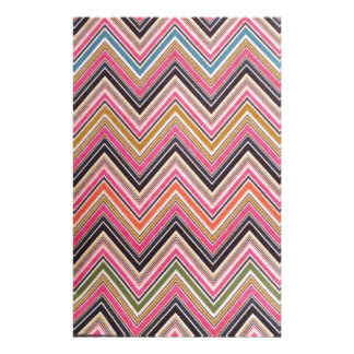 Aztec Pink Red Green Chevron Girly Pattern Stationery