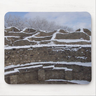 Aztec ruins in the snow New Mexico Mouse Pad
