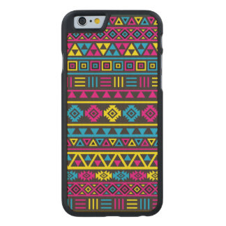 Aztec Style Pattern Black, Cyan, Magenta & Yellow Carved Maple iPhone 6 Case