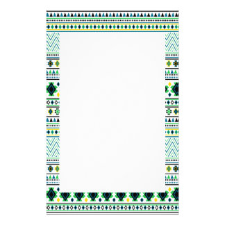 Aztec Style Tribal Pattern White Blue Green Stationery