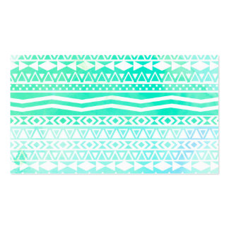 Aztec Summer Teal Watercolor Geometric Pattern Pack Of Standard Business Cards