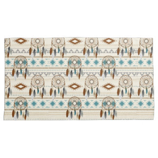 Aztec Tribal Dream Catchers Feathers Browns & Teal Pillowcase
