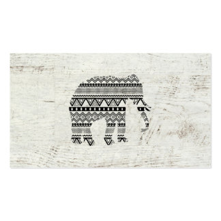 Aztec Tribal Elephant Black White Vintage Wood Pack Of Standard Business Cards