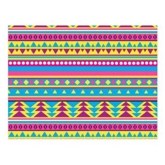 Aztec Tribal in Vivid Colours Postcard