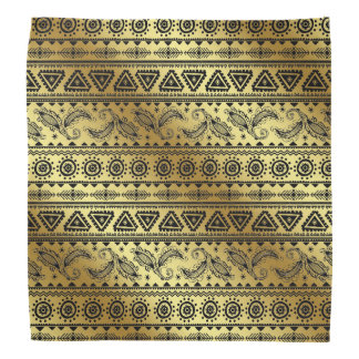 Aztec Tribal Print Neutral Black & Gold bandana