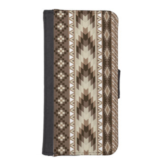 Aztec Tribal Print Neutral Browns Beige Taupe iPhone SE/5/5s Wallet Case