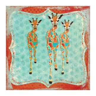 Azure & Amber Giraffes Vintage  Canvas
