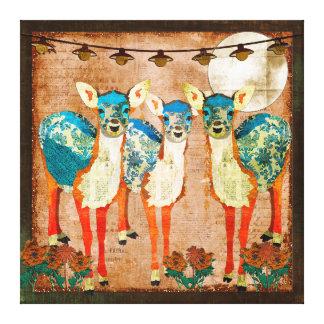 Azure Deer Moonlight Garden  Canvas Art Gallery Wrap Canvas