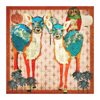 Azure Deer & Rose Owl Fiesta Canvas Art Stretched Canvas Print