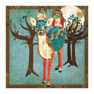 Azure Fawn & Rose Owls Full Moon Canvas Art