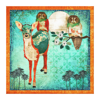 Azure Fawn & Rose Owls Moonlight Canvas Art