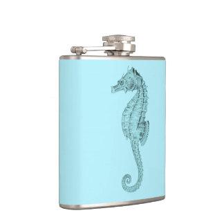 Azure Seahorse Hip Flask