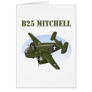 B25 Mitchell Bomber Green Plane Card