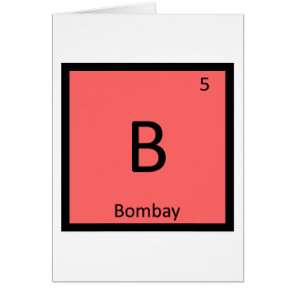 B - Bombay Cat India Chemistry Element Symbol Card