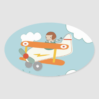 B is for Biplane Oval Sticker